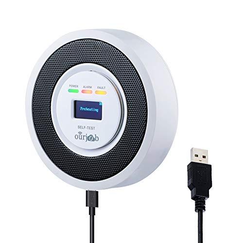 ガス警報器 - Ourjob、 家庭用ガス漏れ警報器 都市ガス用/LPG/天然/石炭ガス可燃性ガス警報機 プロパンブタンメタンガスセンサー、USBパワード、デジタルディスプレイ、サウンドライトアラーム、危険の防止ガス検知器 (ホワイト)
