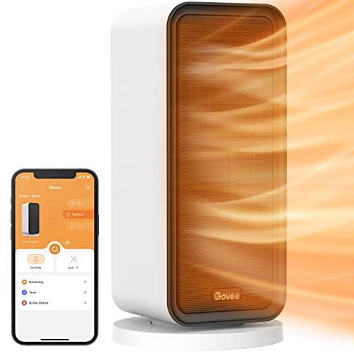 Govee Electric Space Heater, 1500W Smart Space Heater with WiFi & Bluetooth Remote App Control, Works with Alexa & Google Assistant, Ceramic Heater for Bedroom, Indoors, Office, Living Room