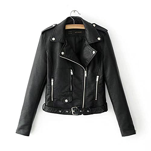 PU Punk Outwear Abrigo Disfraz Mujer - Chaqueta de Cuero de imitación Negra .Zip Up. PU Punk Outwear Abrigo Disfraz - Chaqueta de PU Múltiples Remaches - Retro Chaqueta de Textura Mate - Abrig