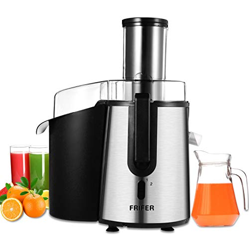 Frifer Exprimidor de zumo de verduras y frutas, 75 mm, orificio de llenado, con función antigoteo y protección contra sobrecalentamiento, incluye motor silencioso, sin BPA, patas antideslizantes.