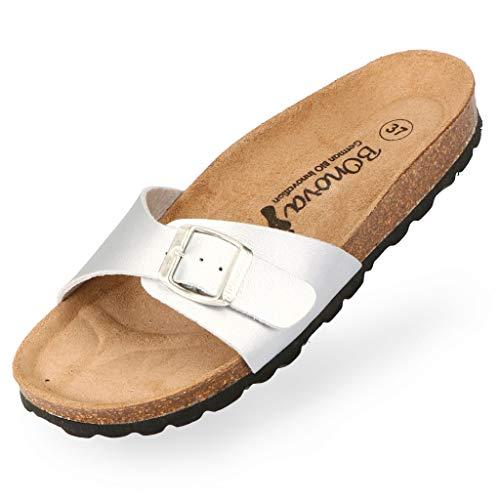 BOnova Damen Pantoletten Teneriffa in Bonoflor Silber 35, modischer Einriemer mit Korkfußbett - komfortable Sandalen zum Wohlfühlen - hergestellt in der EU