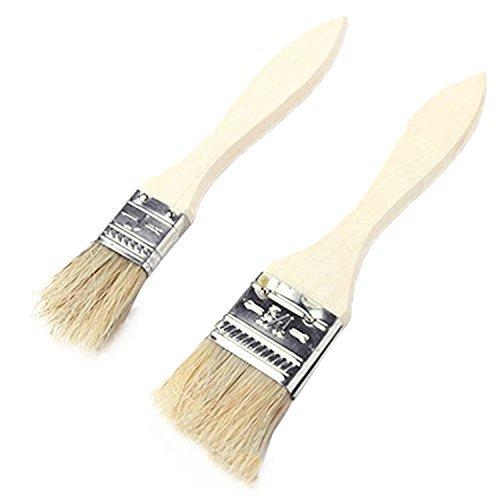 Brosse à badigeonner pour barbecue en poils naturels avec long manche en bois