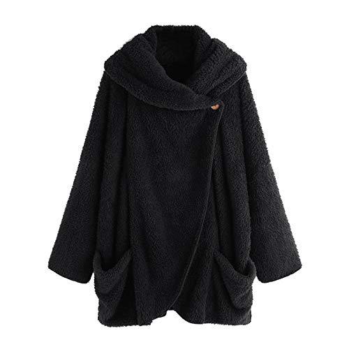 IHGWE - Chaqueta de forro polar para mujer, con capucha, abrigo de felpa con bolsillos, sudadera sólida, sudadera para exterior, abrigo de invierno con cuello grande Negro M