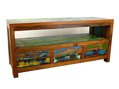 livasia Java Sideboard aus recyceltem Teakholz | TV-Bank aus Buntem Massivholz | Phonoschrank | HiFi-Möbel der Marke Asia Wohnstudio (Handarbeit)
