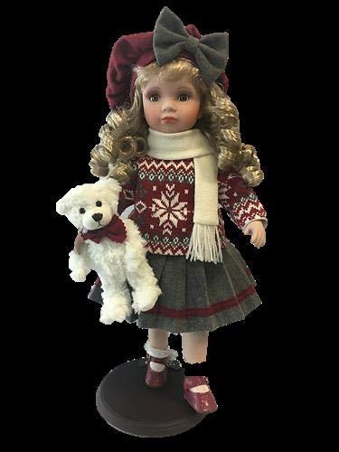 rf collection Porzellan-Puppe, Strickpulli, Hut & Teddy, 47 cm, Holzständer