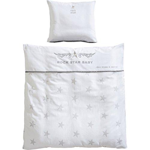 2 teiliges Wiegenset Rock Star Baby Sterne 100% Baumwolle - Bettwäsche Decke Kissen Kinder Stuben Wagen Wiege