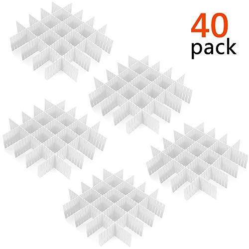 40 Pcs Plastic DIY Grid Drawer Divider Household Necessities Storage Thickening Housing Spacer Sub-Grid Finishing Shelves for Home Tidy Closet Stationary Socks Underwear Scarves Organizer (White)