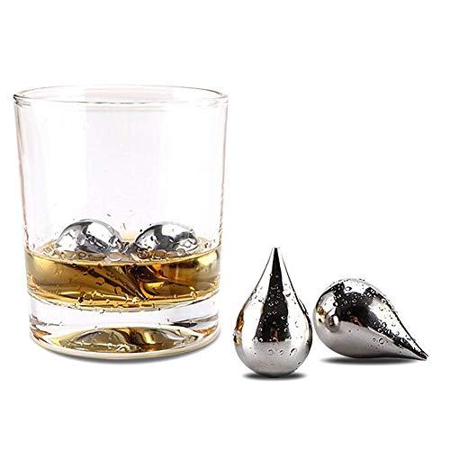 Set Van 6 Whisky Ice Cubes, Nice Water Drop Shape RVS Whiskey Stones, RVS Ice Cubes Herbruikbare, Gift Box Verpakking Cadeau Voor Mannen