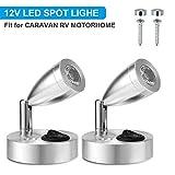 SUPAREE 12V LED Spot Lampe de Lecture Interrupteur Réglable Lumière Chaude pour Camping Car Van Bateau Led Lumière Intérieure (2 PCS)