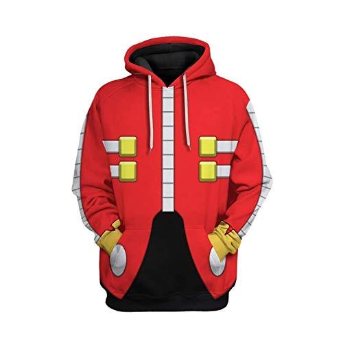 Dr Eggman Hoodie Costume Adult Robotnik Hoodie Pullover Sweatshirt...