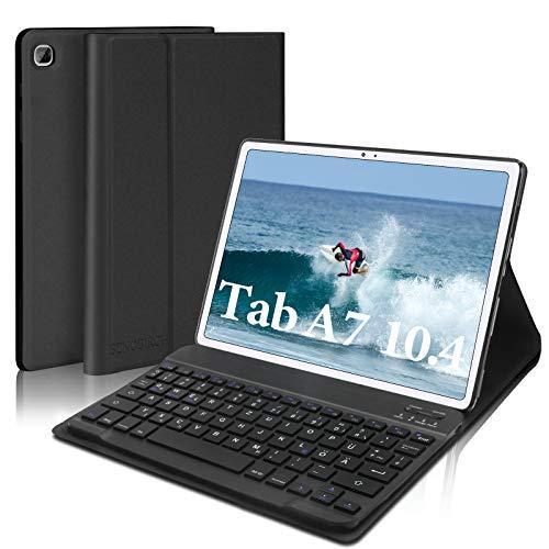 SENGBIRCH Funda con teclado para Samsung Galaxy Tab A7 2020 10.4, funda con teclado (extraíble alemán QWERTZ) solo para Tab A7 2020 (T505/T500/T507), color negro