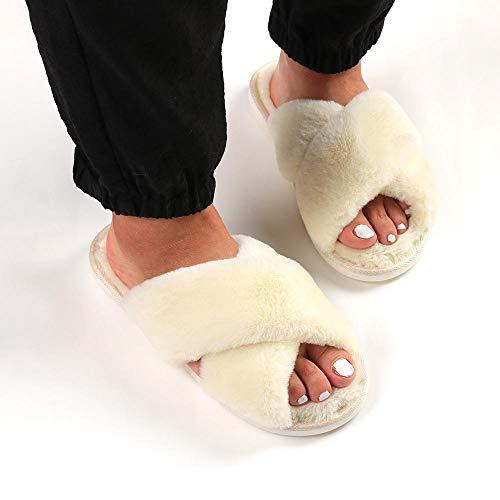 N/W Sandalias de Verano para Mujer, Zapatillas de algodón Antideslizantes para Mujer de otoño e Invierno, Zapatillas de Felpa de algodón-Beige_260 (38-39)