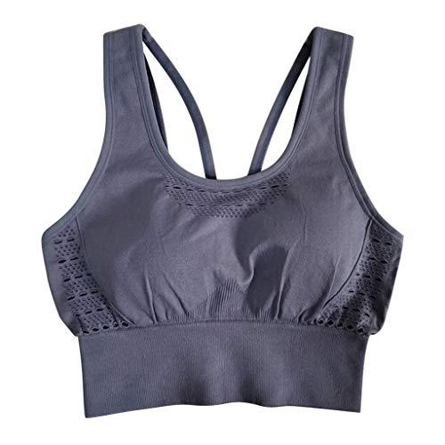 Amlaiworld ❤ Damen-Schöner hinterer BH, Damen Fitness Sport Schnell trocknender Yoga-BH Unterwäsche Aushöhlenbluse Tops(Hellblau,L)
