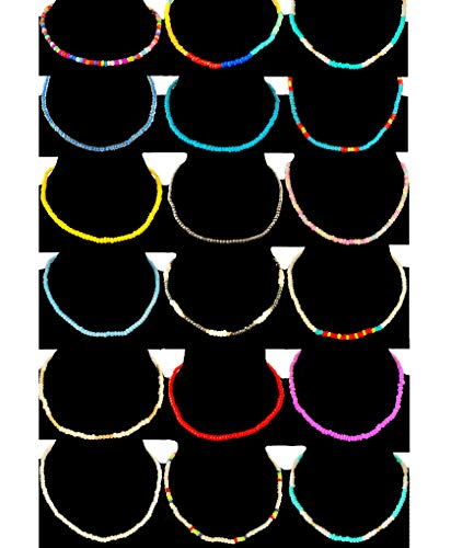 Tornito 18Pcs Seed Bead Choker Hawaiian Stretchy Elastic String Multi-Color Beach Bead Necklace Chain Jewelry Set for Women