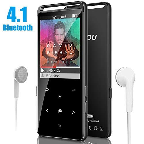 YIYOU Reproductor MP3 Bluetooth 4.1, 16GB Reproductor de Música con Radio FM, Grabadora de Voz, Vídeo, E-Book e Imagen, Pantalla TFT de 1.8 Pulgadas, Auriculares Incluido, Soporte hasta 128 GB