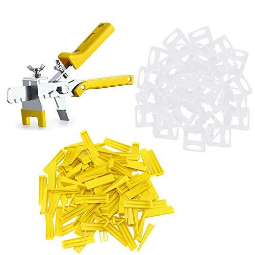 Kit de Sistema de Nivelación de Baldosas, 300 lengüetas de1.5 mm, 100 Cuñas Niveladoras para Suelo, 1 Alicate, lengüetas para azulejos con un grosor de 3 a 12 mm.