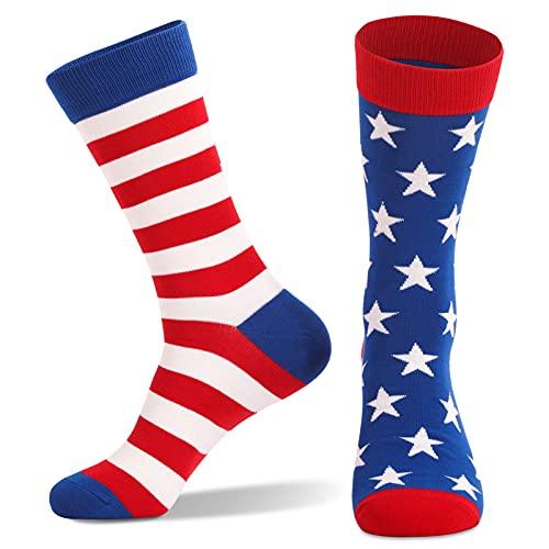 Taitan Calcetines deportivos para correr con diseño de bandera americana de la Independencia, unisex