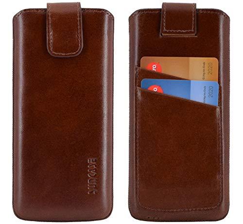 Suncase ECHT Ledertasche Leder Etui kompatibel mit iPhone 12 Mini (5.4