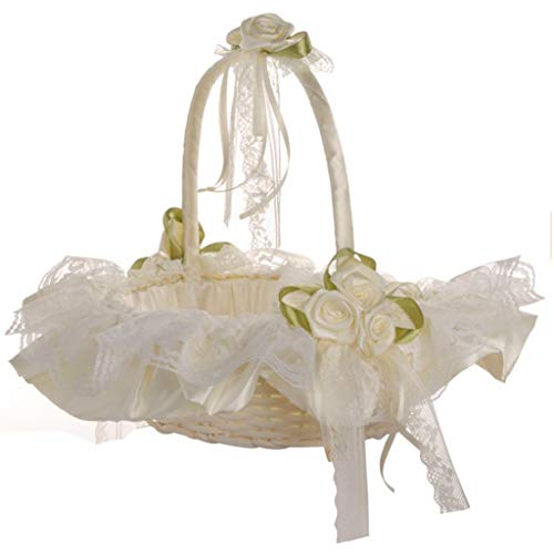 Mikilon Wood Weaving Flower Girl Basket Rose Handle with Lace for Vintage Rustic Wedding Ceremony (White)