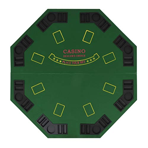 Vislone Tablero de Póker Plegable en 2 para 8 Jugadores Octogonal de Verde y Negro 120 x 120 cm