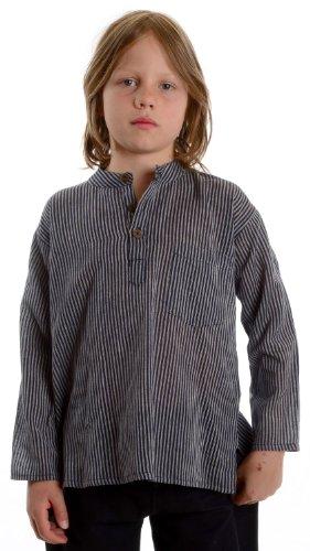 HEMAD Kinder-Fischerhemd gestreift Baumwoll-Hemd blau-gestreift L
