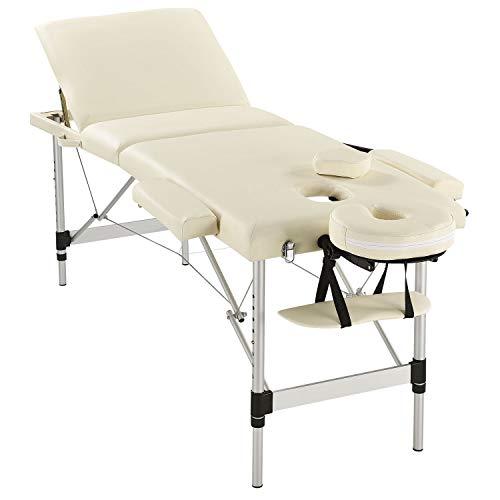 Juskys 3-Zonen Aluminium Massageliege mobil | höhenverstellbar | klappbar | beige | 180x60 cm | Behandlungsliege Massagetisch Therapieliege