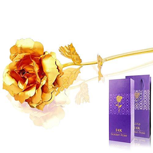 Auelife 24K Gold Rose Long Stem Goldfolie künstliche Rose Blumen Geschenk für Mama, Freundin, Frauen Valentinstag, Muttertag, Erntedankfest, Geburtstag, Jubiläum, Hochzeit, besondere Tage