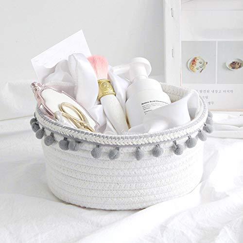 Cesta de almacenamiento de cuerda de algodón, pequeña cesta tejida con bola de pelo para almacenamiento en el hogar, escritorio, organizador de cosméticos (gris)