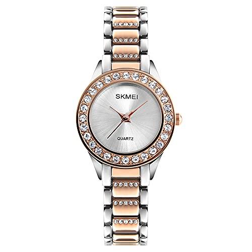 KLFJFD Reloj De Cuarzo Resistente Al Agua con Banda De Acero Fina Y Diamantes De Imitación De Lujo A La Moda para Mujer, Reloj De Moda para Regalo Informal Creativo para Niña