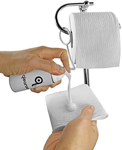 Qleanse Toilet Paper Foam Spray and Caddy Combo - Wet Wipe Alternative and 100% Flushable