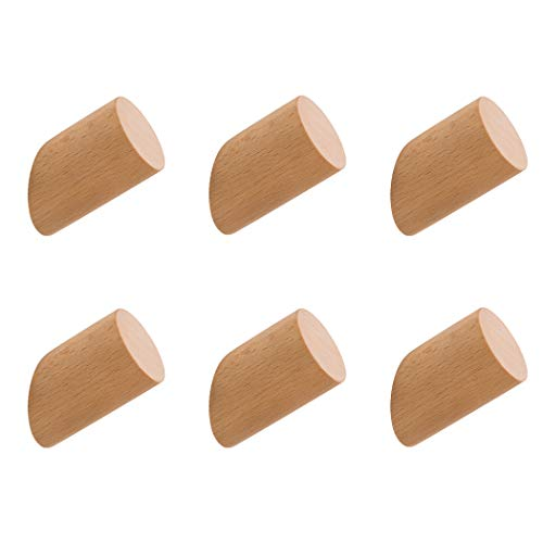 Weisika Holz Haken 6 Stück Naturholz Wandhaken Hölzern Kleiderbügel Kleiderhaken Kit Garderobenhaken für Handtuchhalter Mehrzweck Dekoration im Schlafzimmer Wohnzimmer Flure