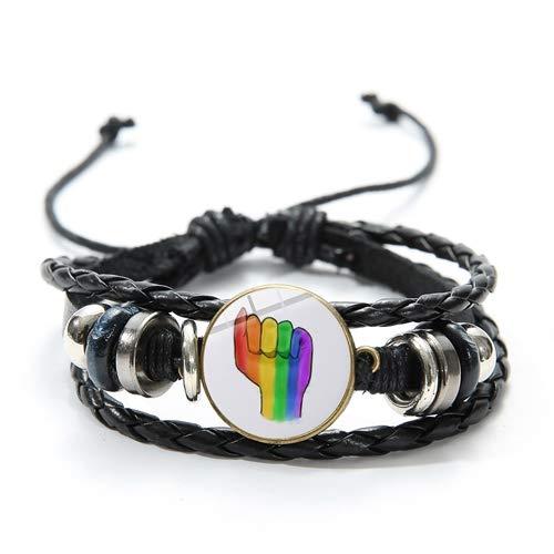 Homosexuell Parade LGBT Lederarmband Liebe ist Liebe Zitate Print Rainbow Flag Zeit Gem Perlen Bettelarmband
