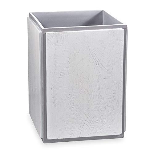 DKNY Grey Wood Waste Basket, Grey