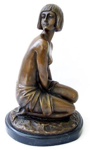 Kunst & Ambiente - Art Deco Bronzefigur Akt Skulptur - Aspasie - signiert - Amedeo Gennarelli Figur in Bronze