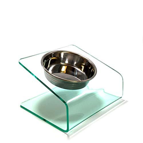 【猫 食器台 S ステンレスボウル1個】食べやすい 傾斜 洗いやすい アクリル素材 ガラス色
