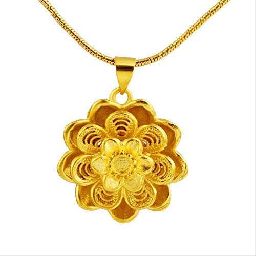 Aluyouqi Co.,ltd Necklace Opening Rose Bloom Necklace Gold Chain Us National Flower Floral Love Symbol Charm Pendant Necklace Women Men