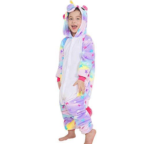 H HANSEL HOME Pijama Unicornio Estrellas Entero Infantil niño niñas de Dibujos Animado Disfraces Animales Carnaval Halloween Cosplay Ropa de Dormir. 100% Poliéster 4-6 años
