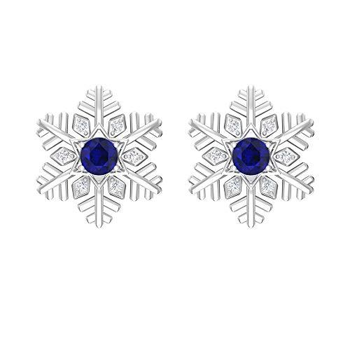 Pendientes de zafiro azul de 1/2 quilates con diamantes, pendientes de copo de nieve, pendientes de tuerca (zafiro azul de corte redondo de 3 mm), rosca en la parte posterior azul