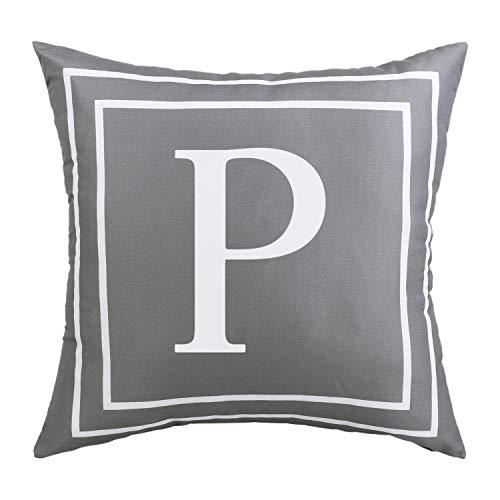 ASPMIZ Fundas de almohada con letras del alfabeto inglés P, fundas de almohada con inicial en color gris, funda de cojín decorativa para cama, dormitorio, sofá (gris, 45,7 x 45,7 cm)