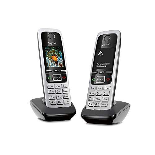 Gigaset C430HX Duo Telefon - 2 Schnurlostelefone / Mobilteile - mit TFT-Farbdisplay - für DECT / CATiq Router - VoIP - Router kompatibel - Große Tasten - IP Telefon - Schwarz