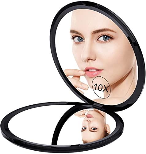 ミラー 鏡 10倍拡大鏡付 両面コンパクトミラー 拡大ミラー 両面化粧鏡 コンパクト拡大ミラー メイクミラー 携帯ミラー 両面鏡 折りたたみミラー 角度調整可 ブラック