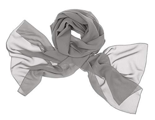 bridesmay Chiffon Stola Schal Scarves für Kleider in Verschiedenen Farben Silver Grey M