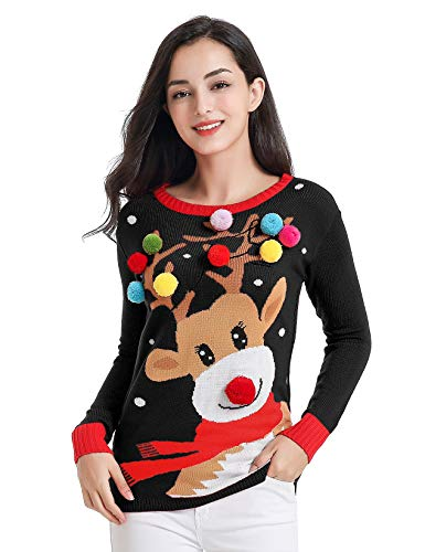 Ugly Christmas Sweater for Women Vintage Funny Merry Tunic Knit Sweater (Colorful Deer Black)