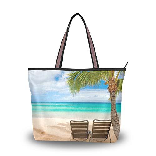 Eslifey Hawaii Sommer Strand Landschaft mit Stühlen Damen Tragetasche Handtasche Schultertasche für Damen Mädchen Gr. 38, multi