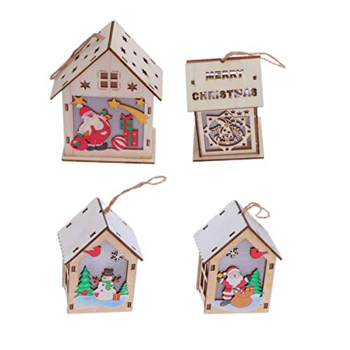 OSALADI Hanging Christmas Pendant 4 Pieces Wooden Christmas Decoration Hanging Decoration for Home Office