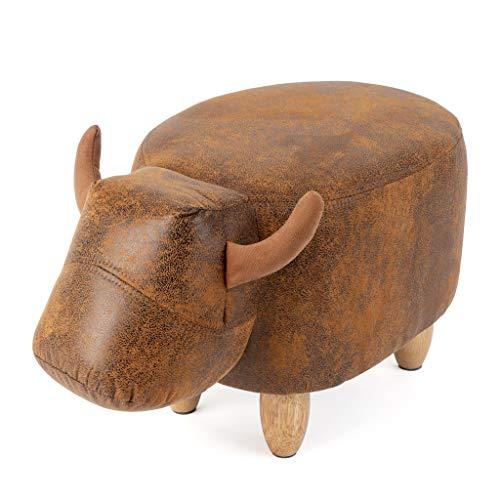 Balvi stołek La Vache brązowy kolor krowa drewniane nogi skóra / drewno