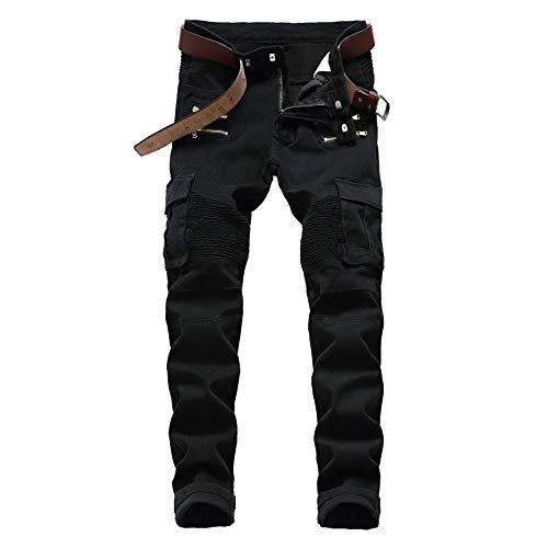 Jeans Pantalon Straight Washed Multi Zipper Hose Plissee Biker Jeans Hose Herren Slim Fit Jeanshose Für Herren 34 1655