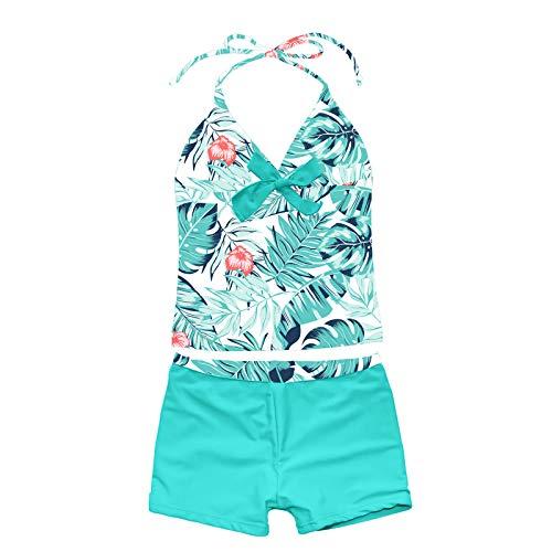 Agoky Mädchen Tankini Set Neckholder Badeanzug Ärmellos Badeshirt Mit Schleife + Badeshorts Sommer Beachwear UPF 50+ Grün B 170-176