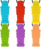 Achort Robot Sensorial Chew Collares 6pcs Masticable Colgante Mordedor Collar Joyas Silicona Impermeable Alivia el estrés Ansiedad Mejora del enfoque Desarrollo del motor oral para niños con TDAH