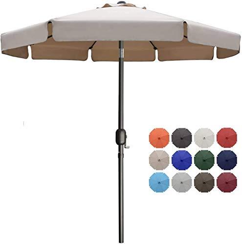 MasterCanopy 270cm Sonnenschirm Fe-Al Market Tischschirm im Freien mit 8 stabilen Rippen,Khaki